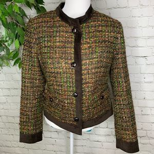 Talbots Brown Tweed Suede Button Marled Blazer 6